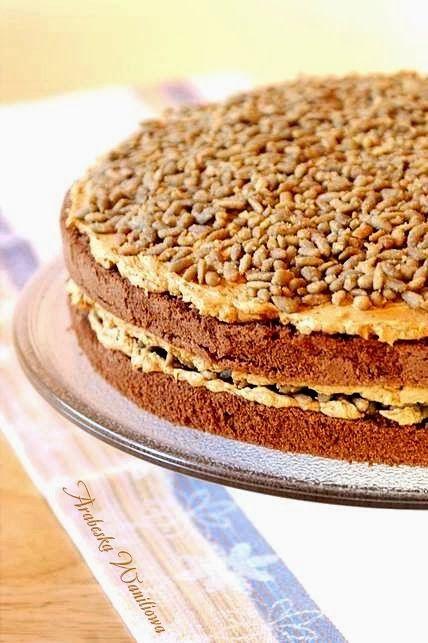 Krówkowe ciasto ze słonecznikiem   Arabeska