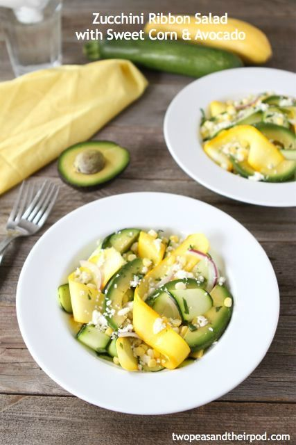 Zucchini Ribbon Salad with Sweet Corn & Avocado | Two Peas and Their Pod: Zucchini Ribbons Salad, Avocado Salad, Corn Avocado, Salad Recipe, Food Blog, Avocado Recipe, Summer Salad, Pasta Recipe, Sweet Corn