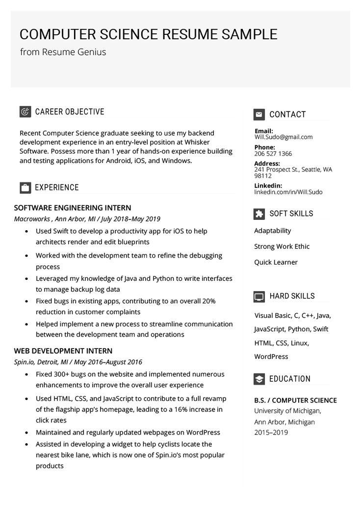 computer science resume sample  writing tips  resume