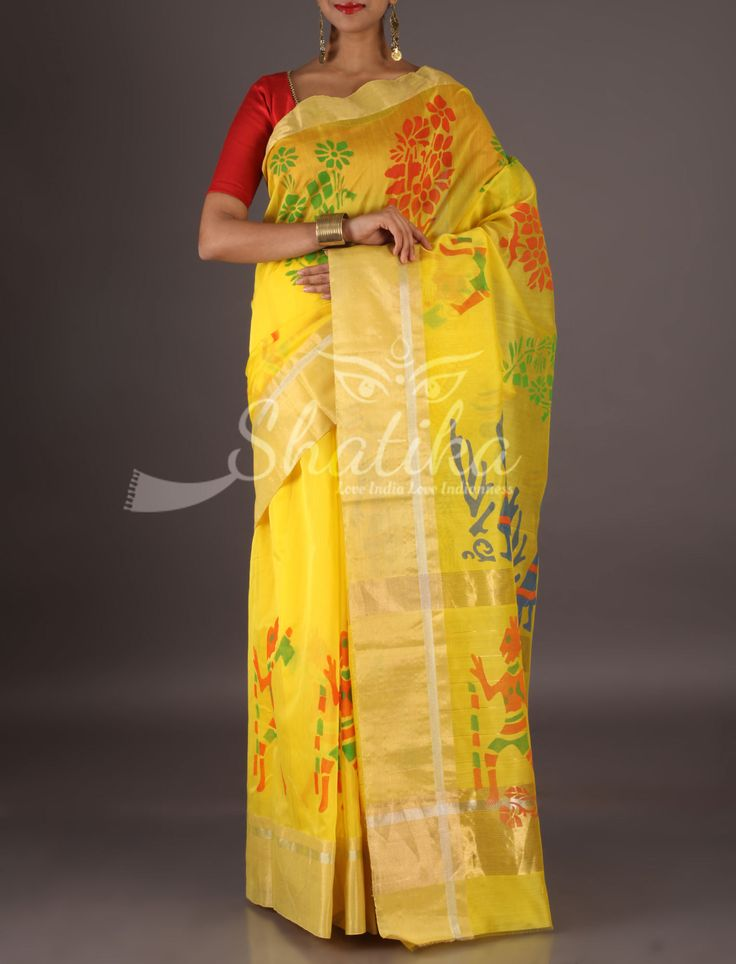 Rachana Vibrant Yellow Lace Border Colorful Tribal Figurines Chanderi Block Printed Saree  Rachana Vibrant Yellow Lace Border Colorful Tribal Figurines Chanderi Block Printed Saree  Rachana Vibrant Yellow Lace Border Colorful Tribal Figurines Chanderi Block Printed Saree Rachana Vibrant Yellow Lace Border Colorful Tribal Figurines Chanderi Block Printed Saree