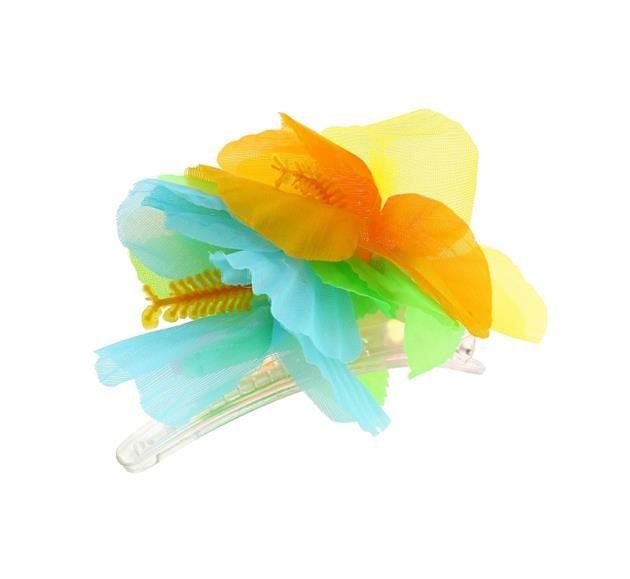 Przypinka hawajska - żółty, błękitny, pomarańczowy.  Przypinki do włosów są świetnym pomysłem. Wcale nie musisz korzystać z usług fryzjera, aby stworzyć niepowtarzalną fryzurę. Rozpuść włosy, lub delikatnie je upnij, dodaj przypinkę w hawajskim stylu i gotowe- wyglądasz niesamowicie! :)