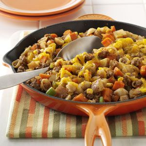 Stovetop Hamburger Casserole Quick Dinner Recipe from Taste of Home -- This is quick comfort food at its best. —Edith Landinger, Longview, Texas