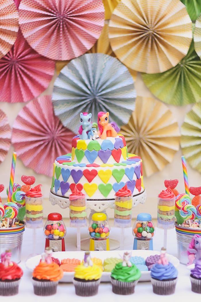 Rainbow Themed My Little Pony Party with Such Cute Ideas via Kara's Party Ideas