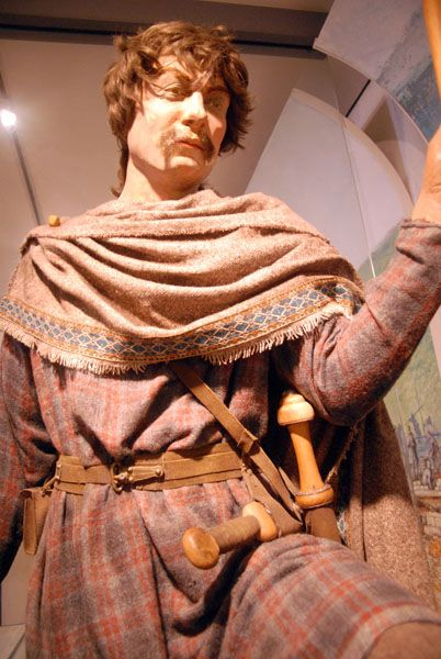 Anglo-Saxon male clothing and artifacts based upon the discoveries in the Buckland cemetery.