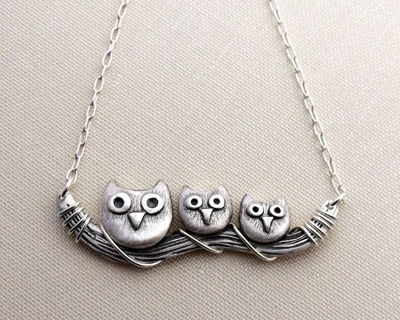 Owl necklace sterling silver owl jewelry by lulubugjewelry on Etsy