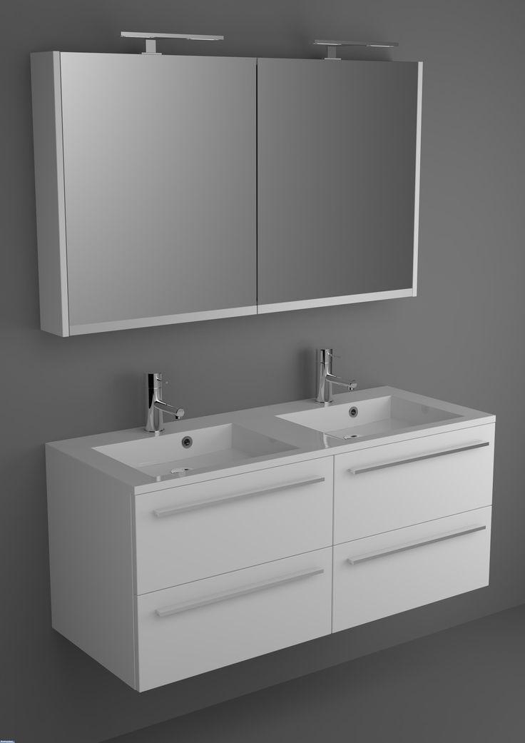 Riho Badkamermeubel Broni 120 cm met spiegelkast en 4 lades | Bad-winkel.nl