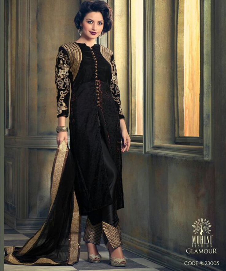 #OnlineShoppingIndia Store sell #Designer Heavy #Embroidered on Velvet With Black Color top And Satin Bottom With Chiffon Dupatta #semi-stitched salwar-suit #dress materials.