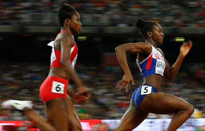 World Athletics Championships 2015: day six – in pictures   Sport   Jeneba Tarmoh from US and Great Britain's Dina Asher-Smith ahead of her in the women's 200m semi-final