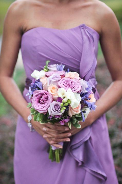 Purple and Peach Bridesmaid Bouquet | Love Blooms | Raiza Vega Photography | TheKnot.com