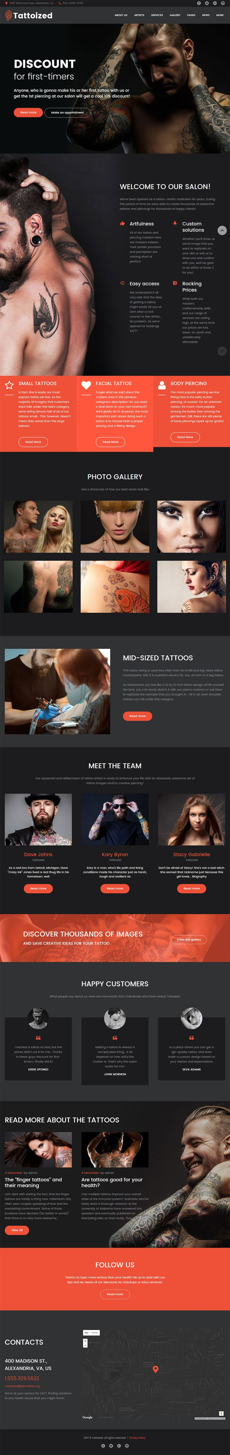 Tattoo Salon Wordpress Theme, exclusively forged in the furnace for body art, piercing and tattoo salons.