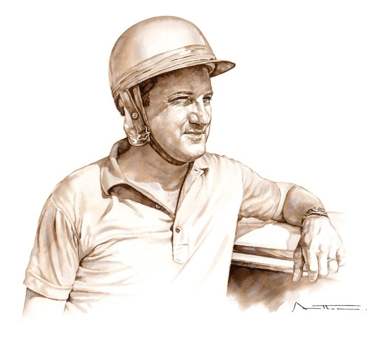 Piero Gancia in the days when full overalls were not yet the required racing attire, especially in touring cars. Only after the advent of Nomex with its fire retardant properties that overalls became mandatory. Initially Piero adopted Nome pants while sporting a polo shirt, the rationale was to protect the family jewels. Illustration by Eduardo da Silva Prado.