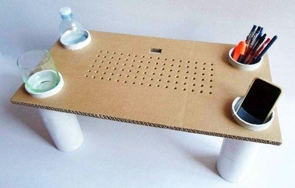 Стол для ноутбука из картона и можно сделать своими руками. Мастер-класс