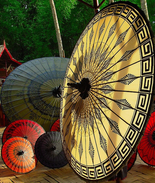 Burmese Umbrella/Parasols - Pathein Htee - from Burma. Distinct from the Chinese or the Japanese ones, the bamboo shaft and ribs are carefully smoothened to uniform sizes, and are hinged on to the main shaft by treading twine. Colored cotton, silk or satin is used. Attractive designs of flowers and scenarios are painted thereon with either oil if water colors.