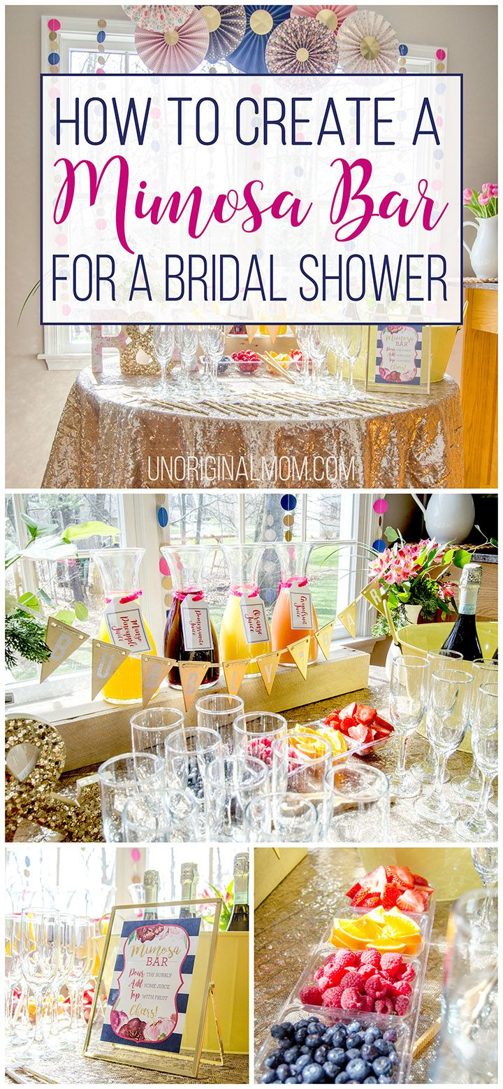 Great tips for how to put together a mimosa bar for a bridal shower or other event. It's easy and fun!   mimosa bar   mimosa bar printables   bridal shower brunch   bridal shower mimosa bar   brunch and bubbly   mimosa bar glasses   mimosa bar ideas
