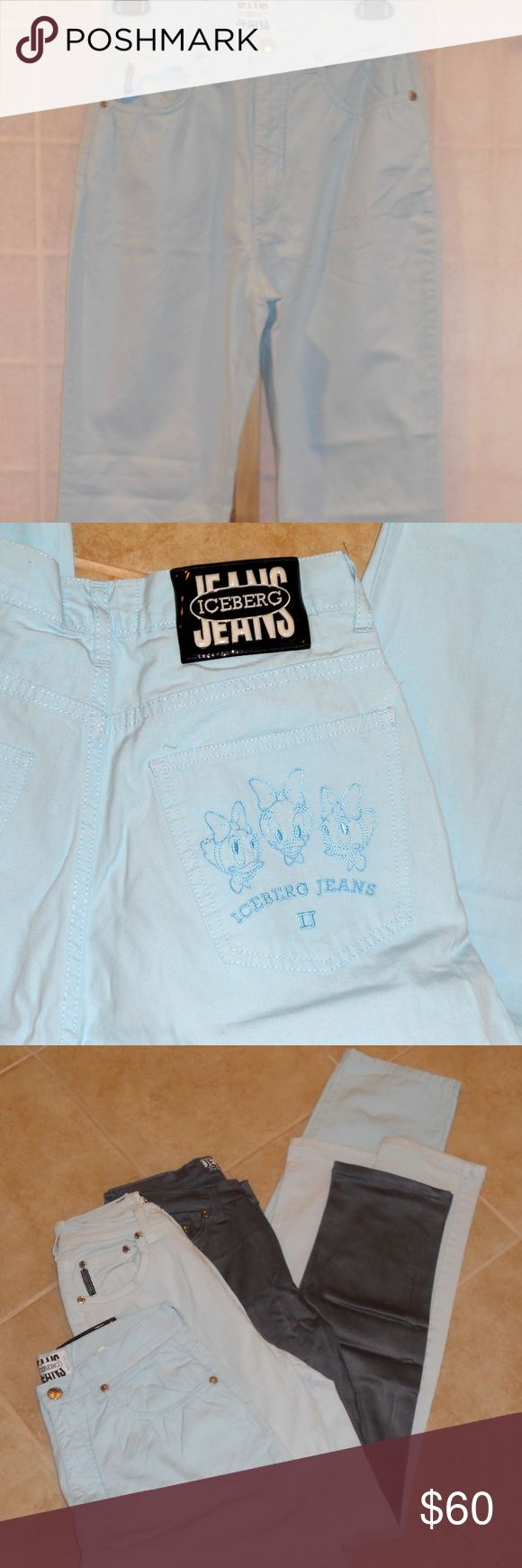 """Gilmar Iceberg Rare Disney Blue Jeans Sz 28 Gilmar Iceberg, Italian designer. Made in Italy. Size 28 light blue Disney jeans – very rare Disney Iceberg jeans!! Webbigail (Webby) Vanderquak from DuckTales, adopted sister of the famous Huey, Dewey Louie ducks, is embroidered on the back right pocket (see picture).  Skinny jeans, 5 pockets, belt loops, machine washable.  Rise: 12 ¼"""", inseam: 30 ¾"""", length: 42"""". 100% cotton. Perfect condition. Gilmar Jeans Skinny"""