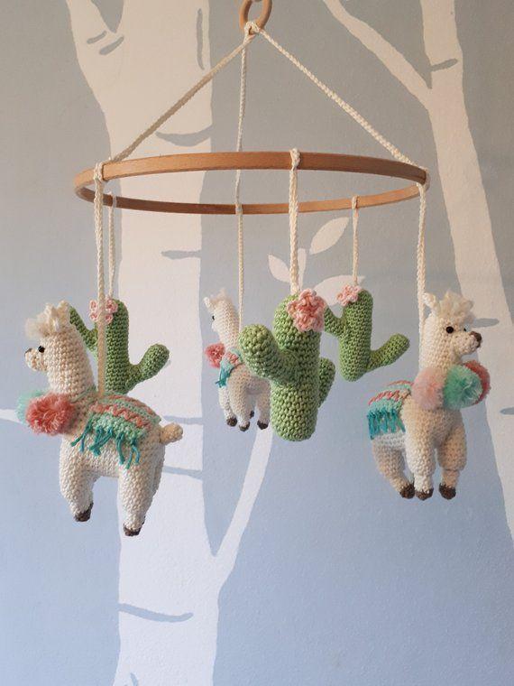 Llama Baby Mobile Crochet Pattern Llama Nursery Mobile Pattern