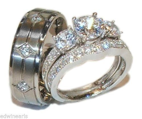 His & Hers 3 Stone Cz Wedding Engagement Ring Set Sterling Silver & T