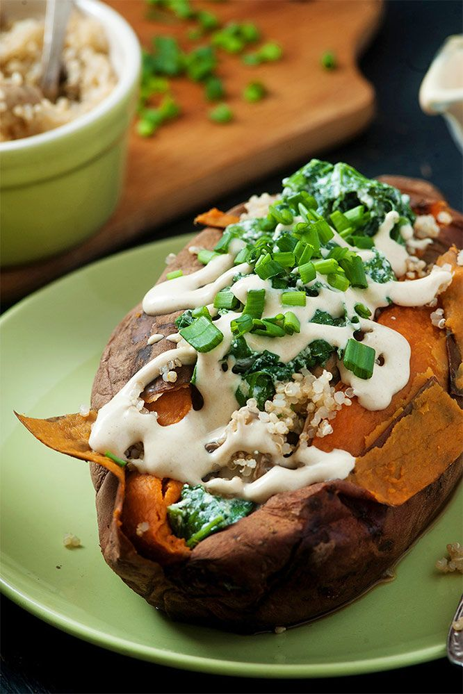 Jacket Sweet Potato Recipe Sweet Potato Filled With Quinoa And Mushrooms Recipe Sweet Potato Recipes Sweet Potato Soup Recipes Sweet Potato Recipes Healthy