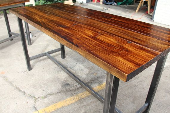 Counter height table at 37.5 high. Benches are $329 each. This table is 6 feet long and 34 inches wide. I can do any size/stain/wood you want! Thanks