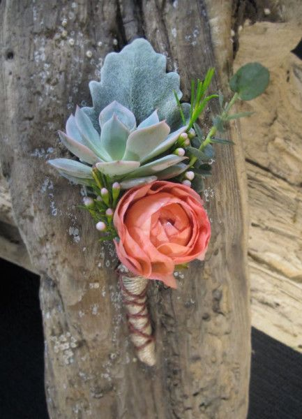 Boutonniere featuring succulent and coral ranunculus.  Chickabloom Floral Studio - wedding florist serving the Vancouver, Washington and Portland, Oregon areas.