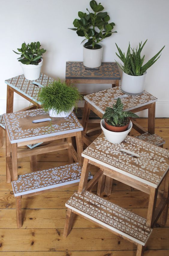 Stencilled step stools using Nicolette Tabram stencils and stencil paint.