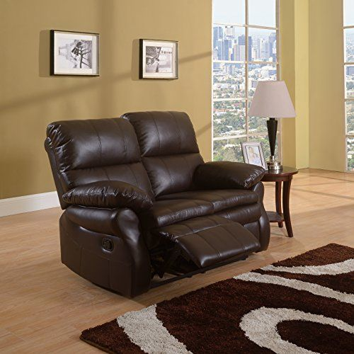 Classic Brown Bonded Leather Oversize Double Recliner Loveseat (Brown) : oversized loveseat recliner - islam-shia.org