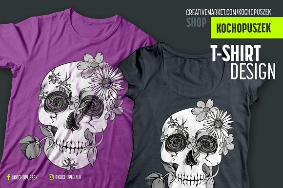 Skull T-shirt design by Kochopuszek on @creativemarket