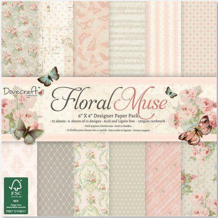 "Sample craft paper 150gsm /""  Floral Muse /"" scrapbooking"