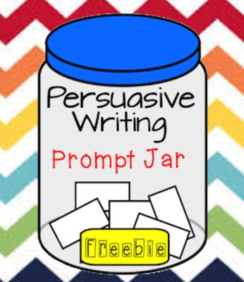 Persuasive Writing Prompt Jar from Launching Learning  on TeachersNotebook.com -  (4 pages)  - Printable writing prompt slips and jar labels for persuasive writing centre