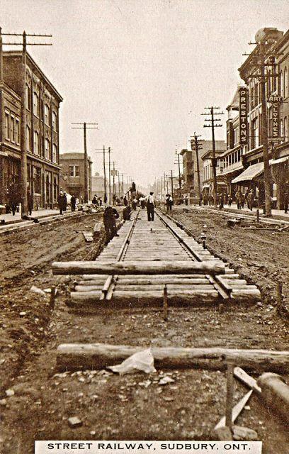 SUDBURY, Ontario - 1914 streecart railway tracks being installed on Elm Street