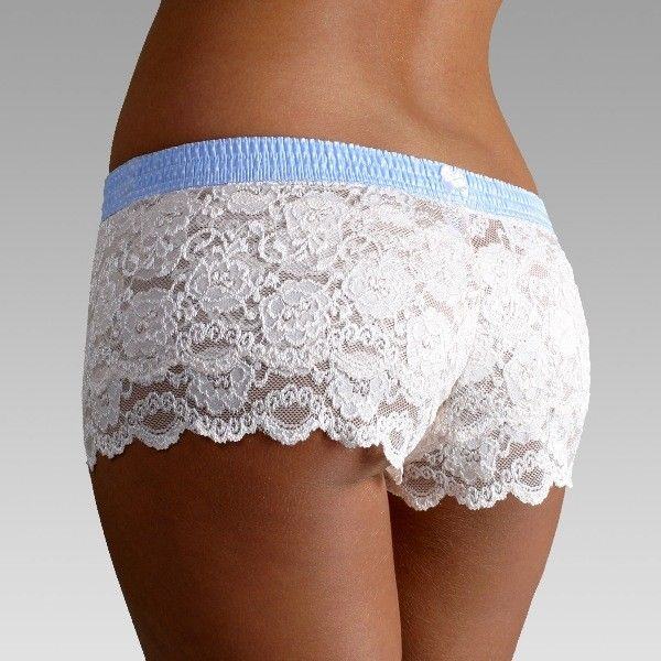 Light Blue Dot over Ivory Lace Boxers - The 90% Nylon and 10% Spandex ivory lace is ultra soft and hugs the body. The FOXER top is made from 100% cotton. found them!