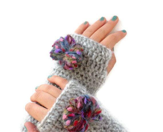 SALE Crochet  Fingerless Glovesgray gloves with pom by seno, $30.00