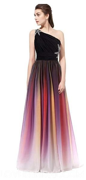 One Shoulder Beaded Chiffon Ombre Long Evening Prom Dresses, Cheap Sweet 16 Dresses, 18399
