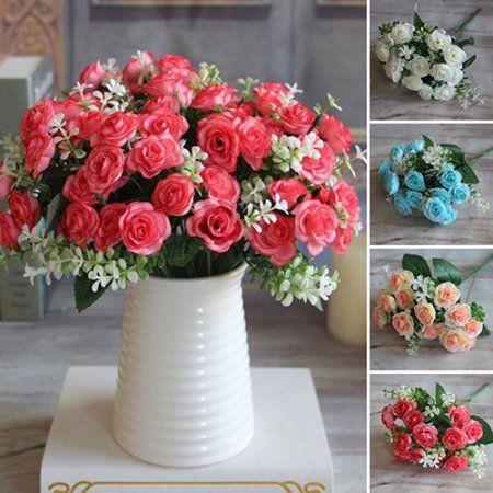 1 Bouquet 15 Heads Artificial Rose Flower Home Room Decoration Xmas Party Decor - Walmart.com