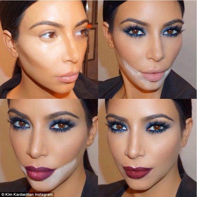 Tricks of the trade: Kim Kardashian shared this collage of her make-up on Instagram on Sat...