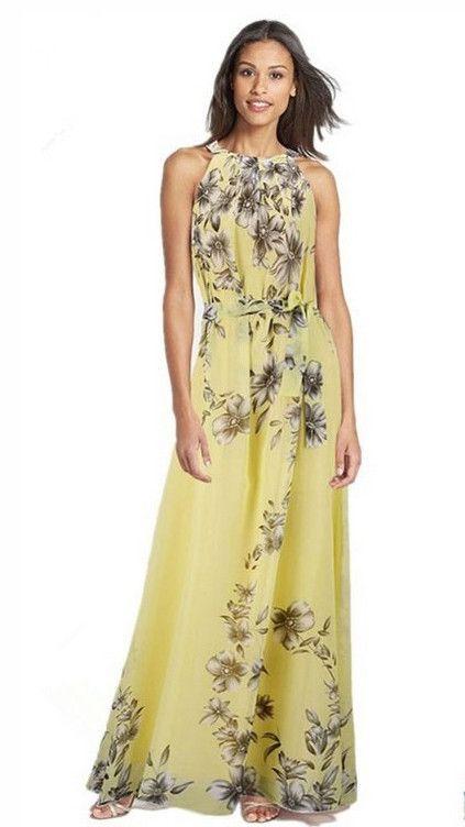 Chiffon Sleeveless Flower O-neck Bohemian Long Dress