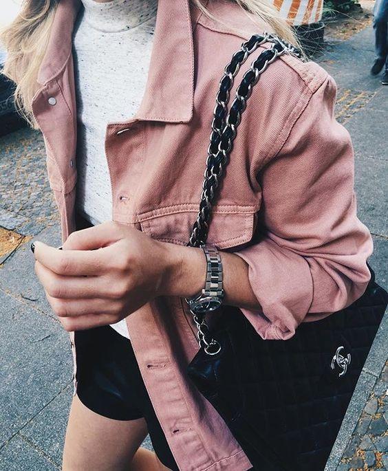 pink denim + grey + black