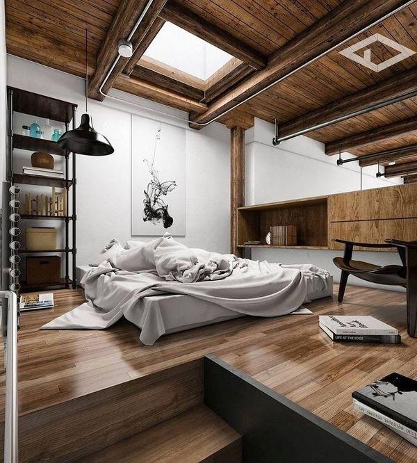 Design modern dormitor mansarda