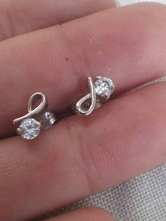 Vintage Stud Earrings Sterling Silver With Cubic Zirconias