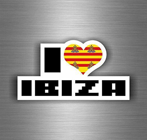 Autocollant sticker voiture moto biker macbook i love ibiza espagne: Taille du sticker : 100mm x 50mm Idéal pour une utilisation intérieure…
