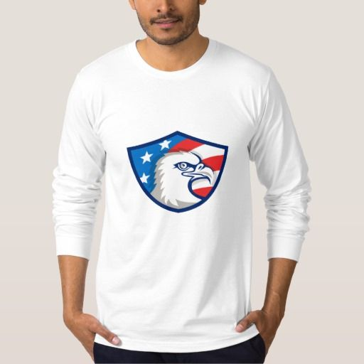 Bald Eagle Head USA Flag Shield Retro Tee Shirt. Illustration of an american bald eagle head viewed from the side with usa american stars and stripes flag in the background set inside shield crest done in retro style. #Illustration #BaldEagleHead