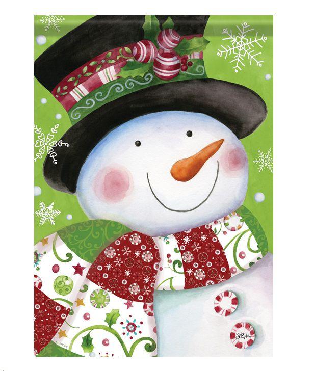 Sue Zipkin snowman garden flag