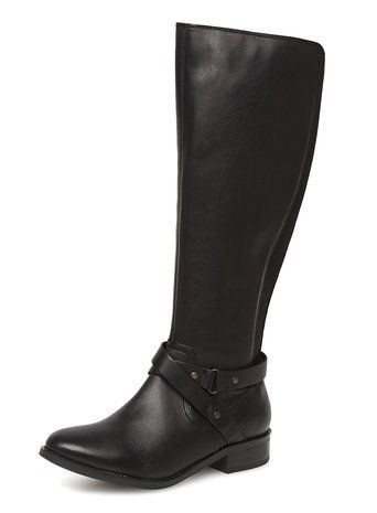 Black leather knee-high boots