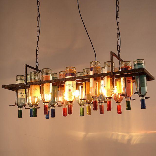 Американский промышленный искусства старинные стеклянная бутылка вина люстра лампа Nordic блеск Современная столовая кухня ресторан свет