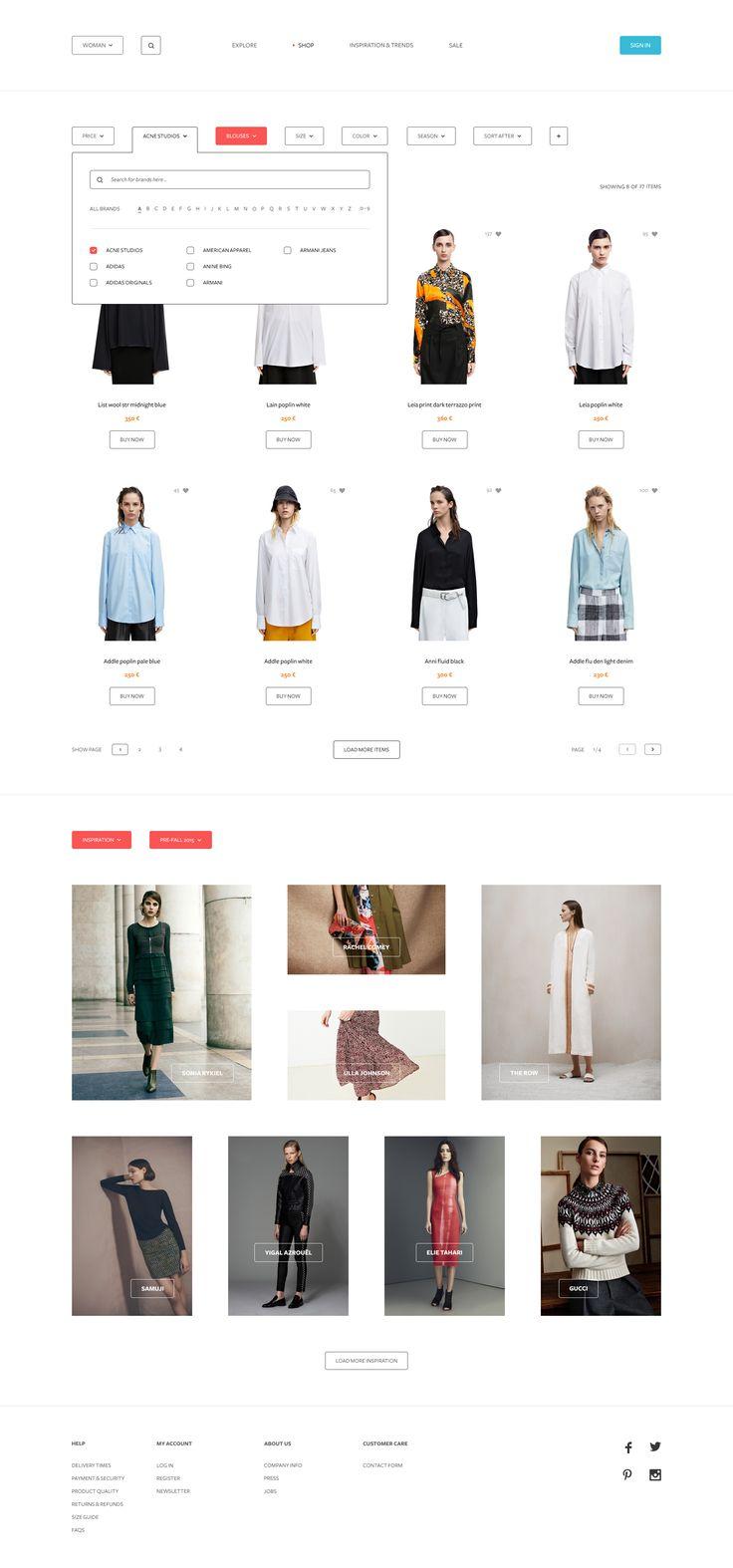 Fashion Website Filter UI Design