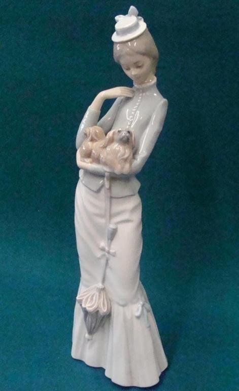 Lladro Figurine Lady With Dog Amp An Umbrella Depicts Lady