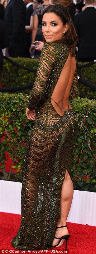 Sheer daring: The 40-year-old left plenty of skin on show in a plunging and backless gown ...