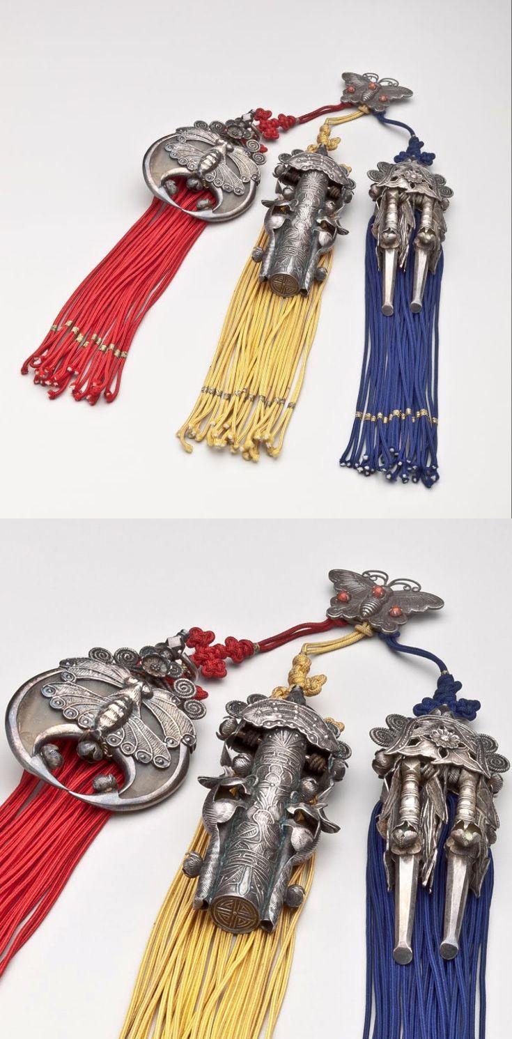 Korea | Woman's waist ornament (Samjak Norigae) | Silver, ox horn, wood brass, cord, glass | 1800 - 1899