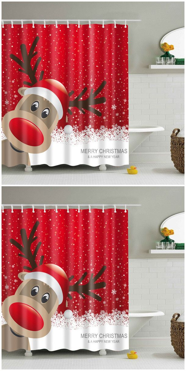 Christmas Elk Fabric Waterproof Bath Shower Curtain