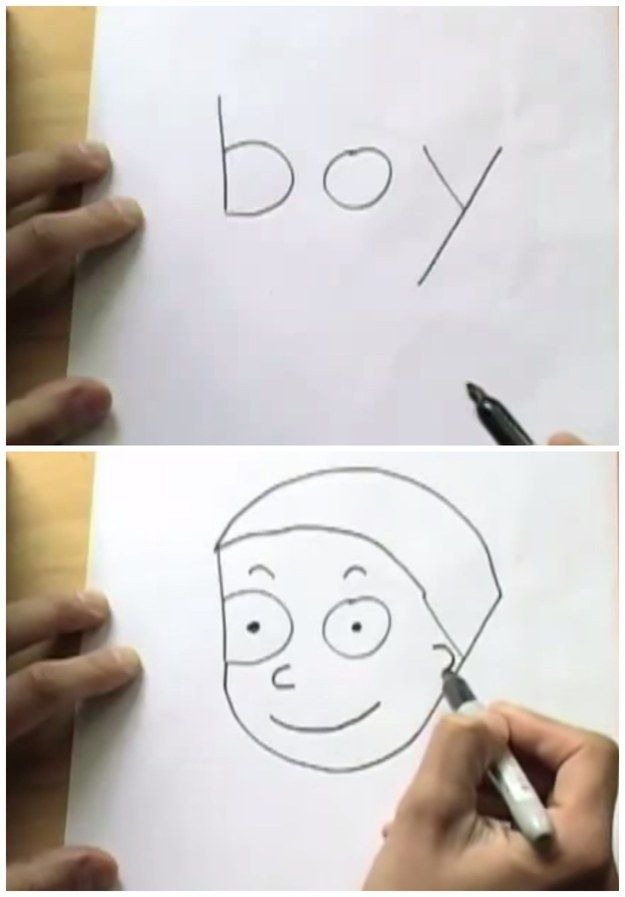 "Draw a boy out of the word ""boy."""